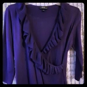 💗B wear ruffle v neck sweater purple size Xl
